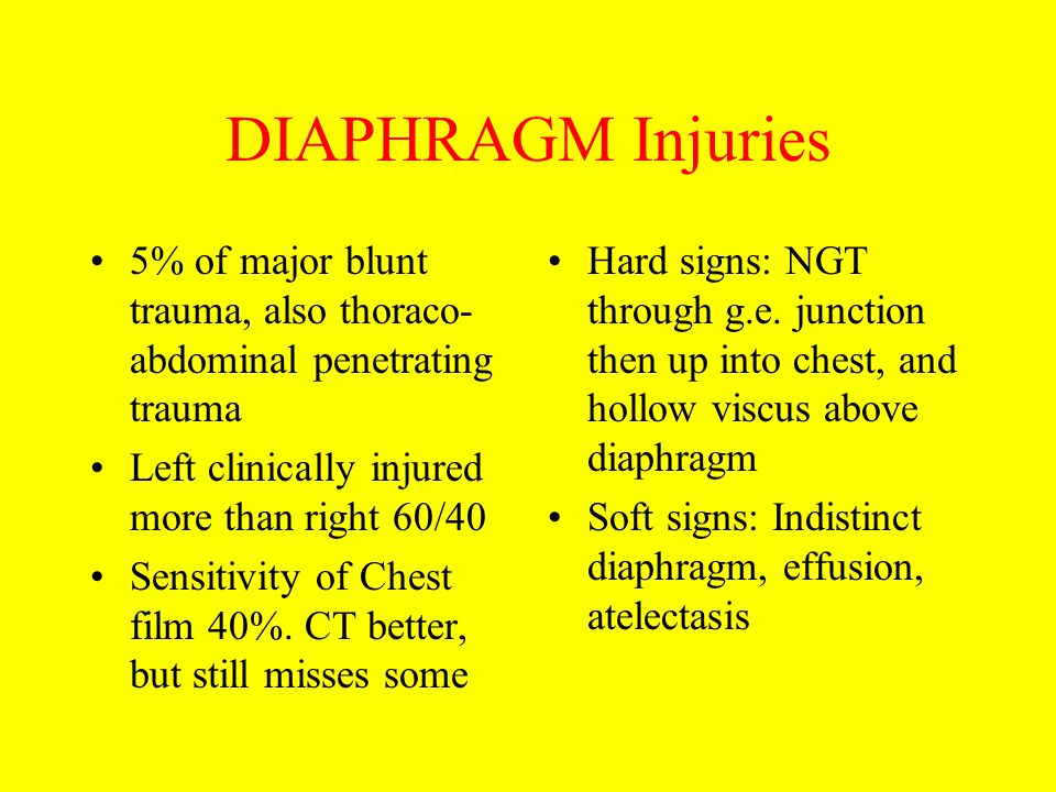 DIAPHRAGM Injuries 5% of major blunt trauma, also thoraco-abdominal penetrating trauma. Left clinically injured more than right 60/40.