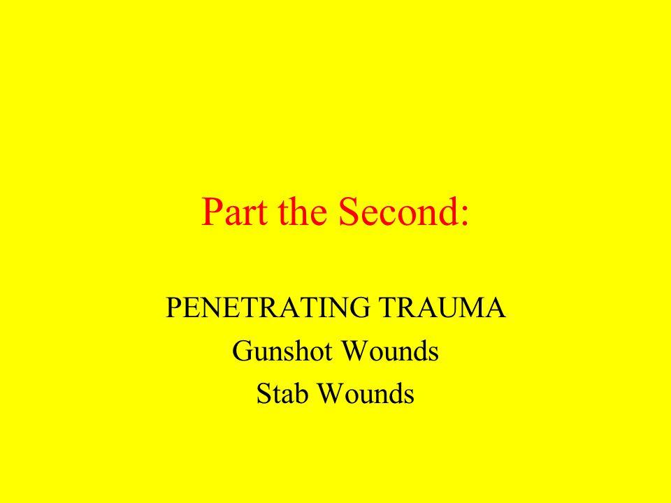 PENETRATING TRAUMA Gunshot Wounds Stab Wounds