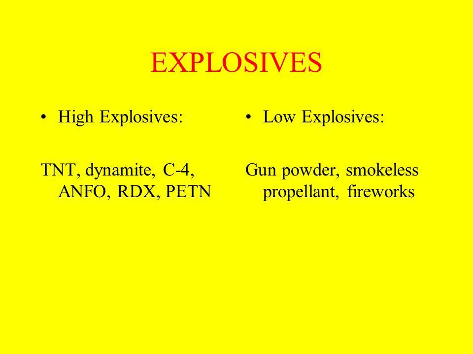 EXPLOSIVES High Explosives: TNT, dynamite, C-4, ANFO, RDX, PETN