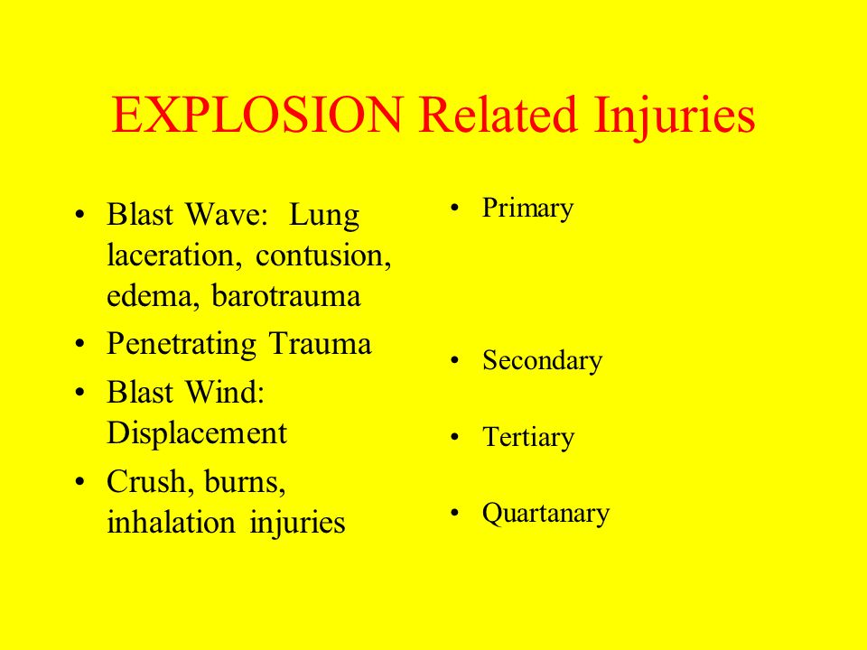 EXPLOSION Related Injuries
