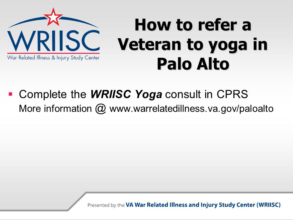 How to refer a Veteran to yoga in Palo Alto