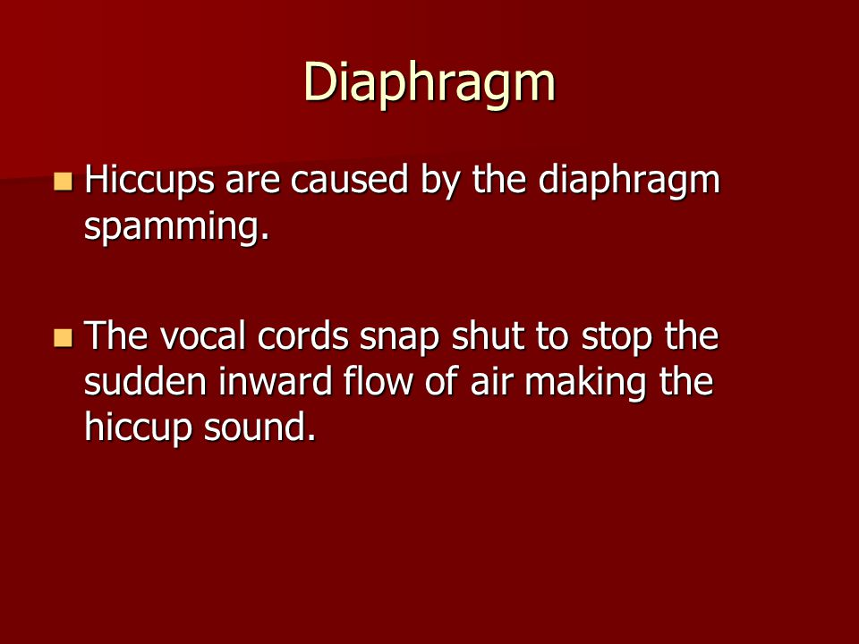 Diaphragm Hiccups are caused by the diaphragm spamming.