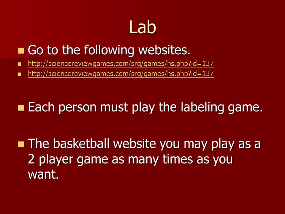 Lab Go to the following websites.