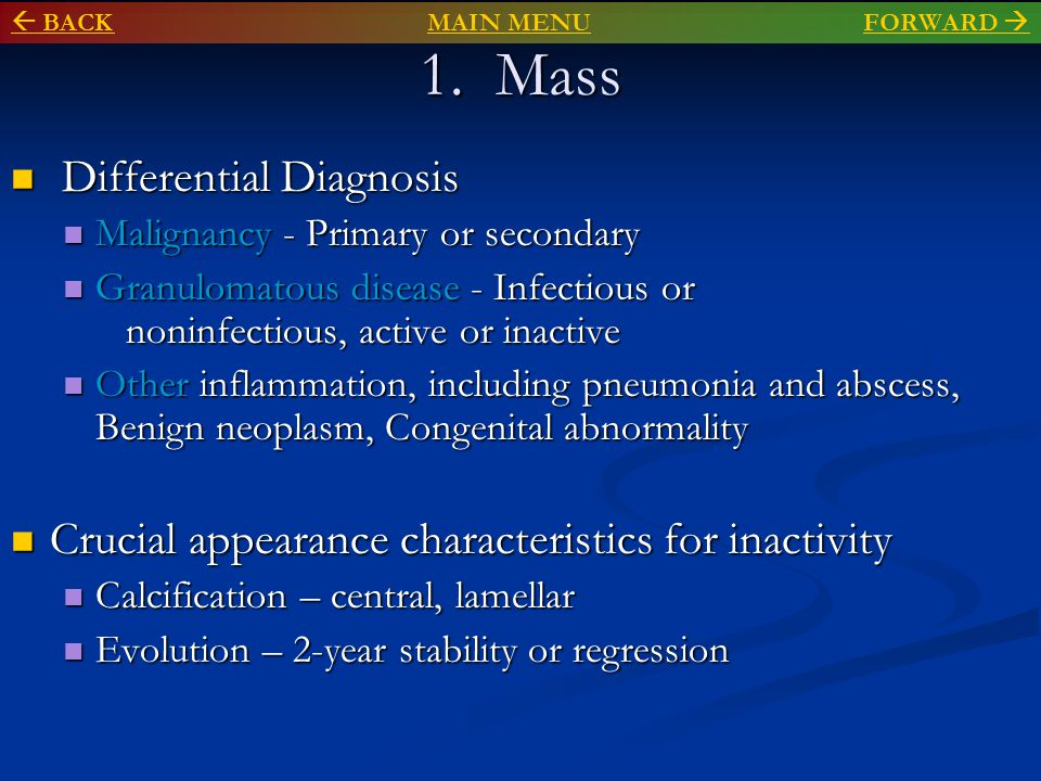 1. Mass Differential Diagnosis