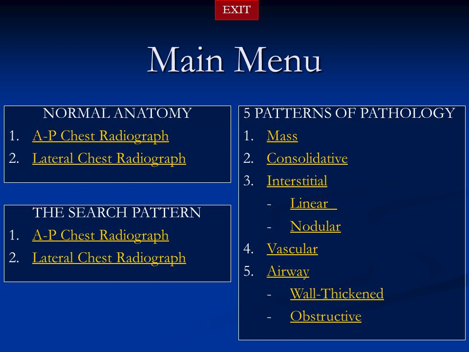 Main Menu NORMAL ANATOMY A-P Chest Radiograph Lateral Chest Radiograph