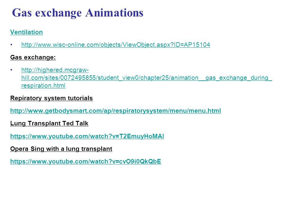 Gas exchange Animations