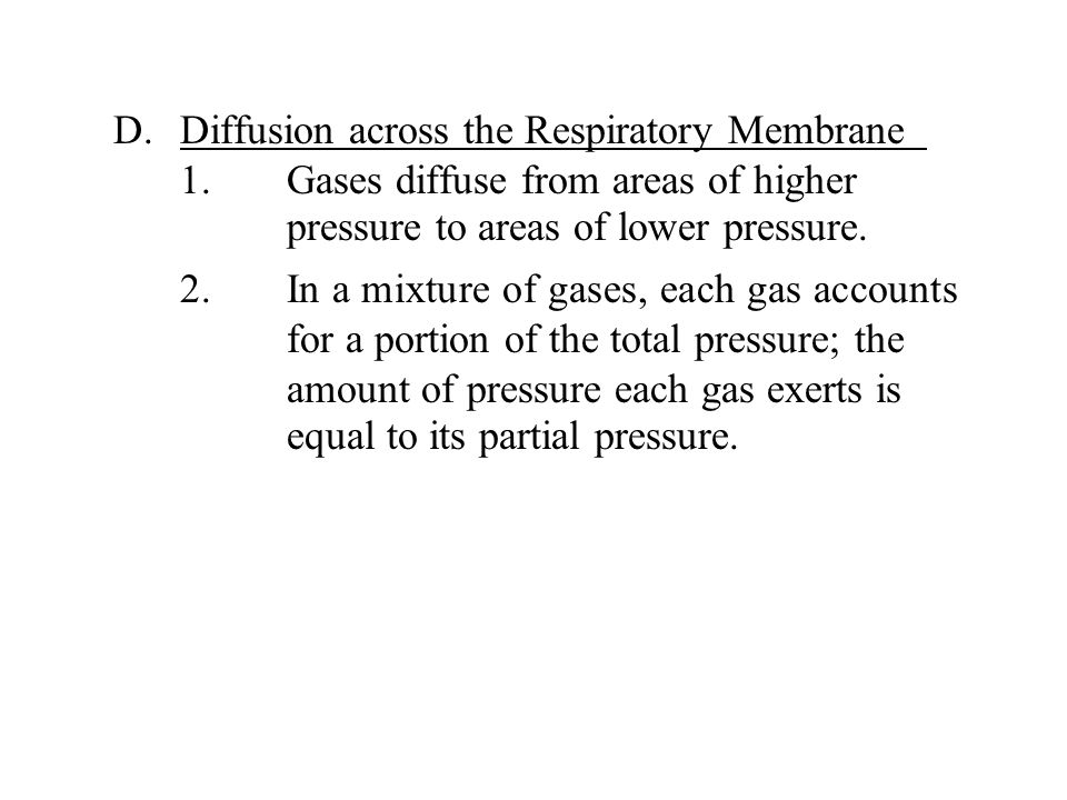 D. Diffusion across the Respiratory Membrane. 1