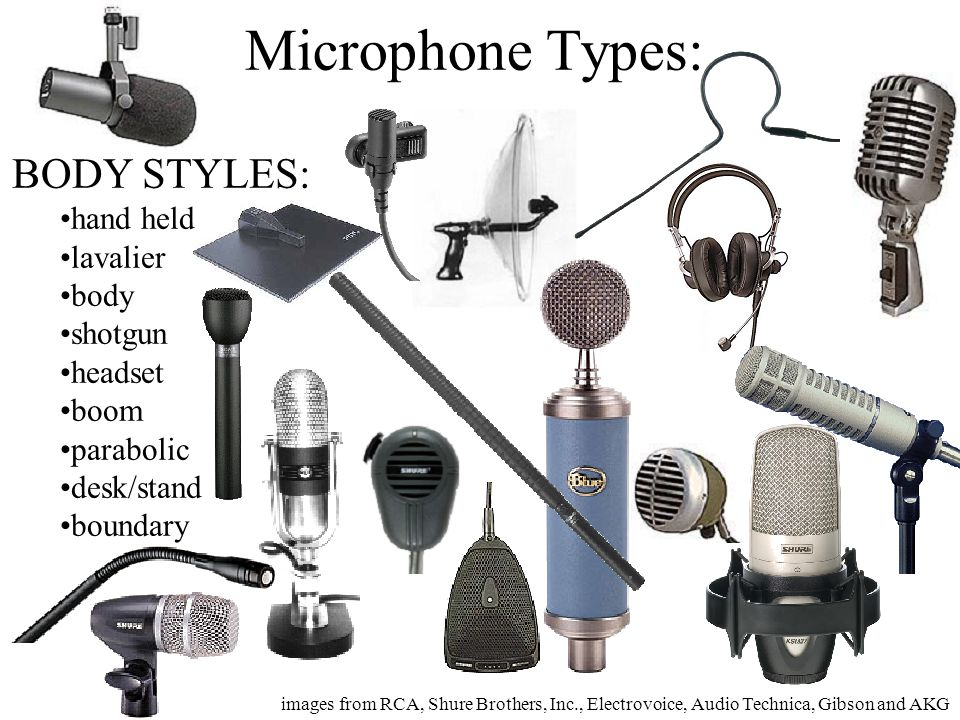 Microphone Types: BODY STYLES: hand held lavalier body shotgun headset