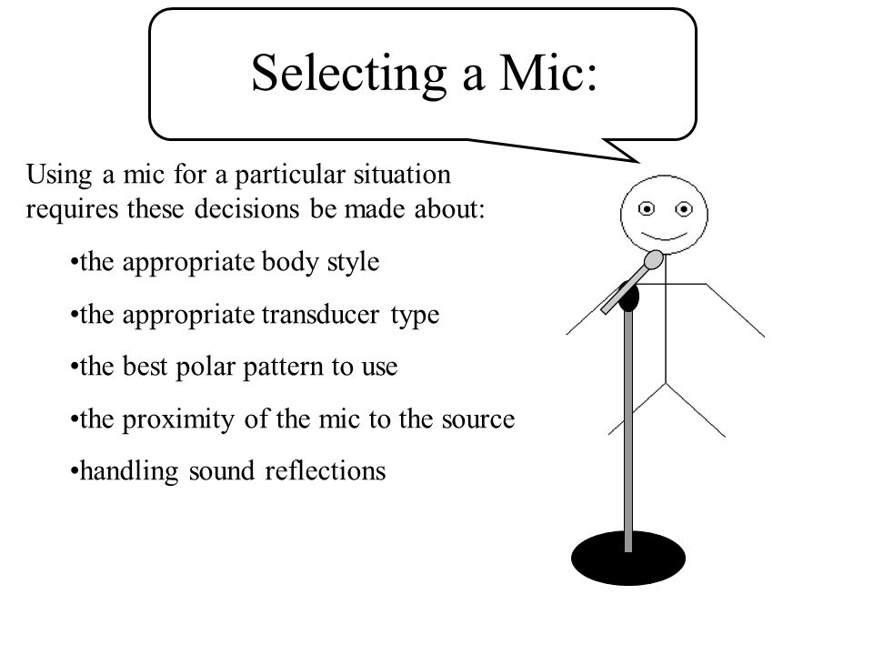 mic techniques.ppt 4/14/2017. Selecting a Mic: Using a mic for a particular situation requires these decisions be made about: