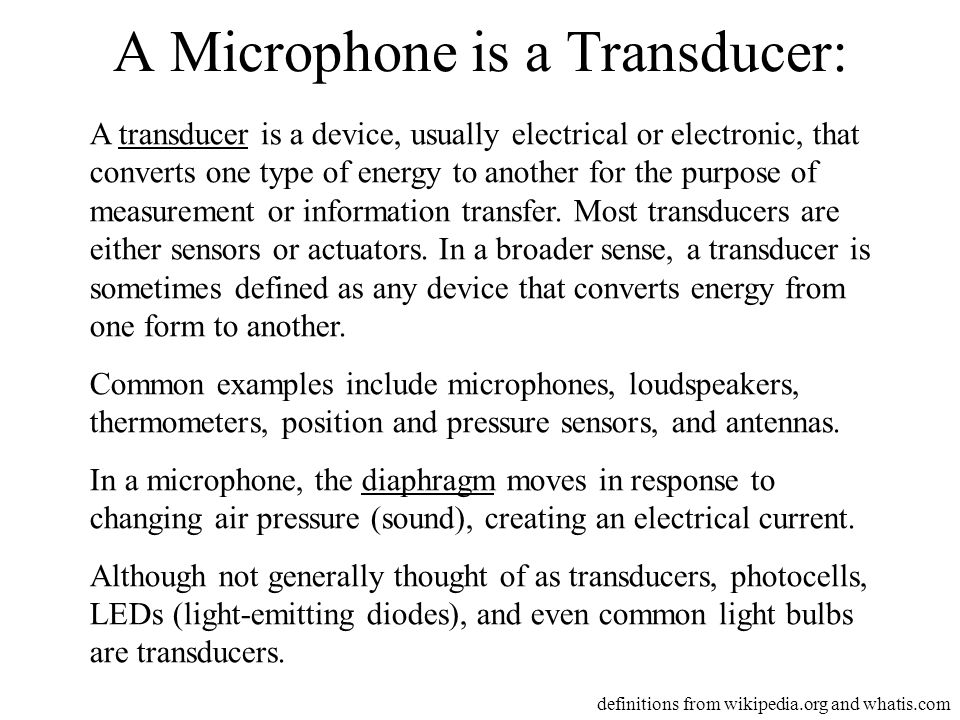 A Microphone is a Transducer: