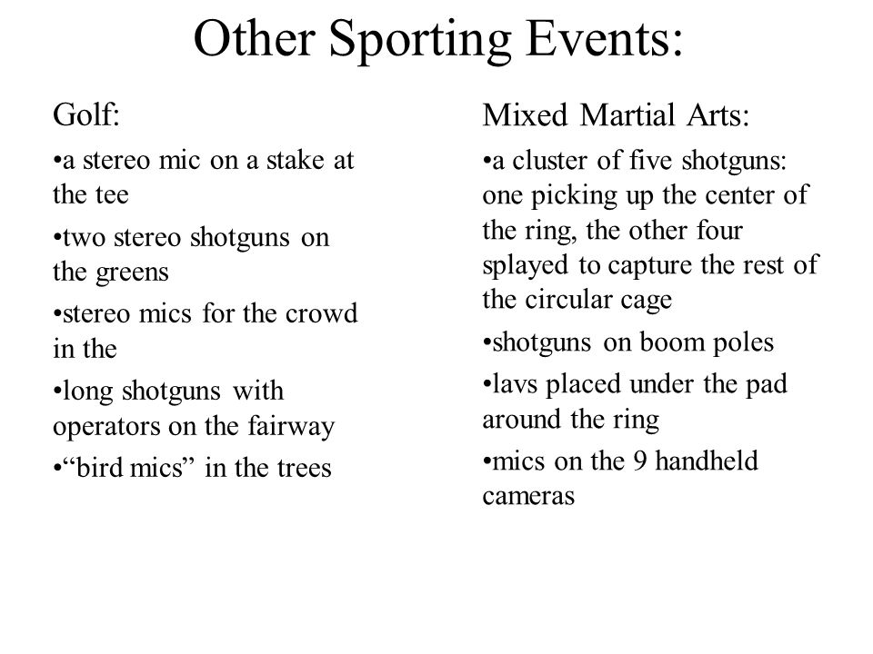 Other Sporting Events: