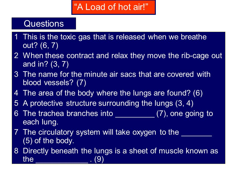 A Load of hot air! Questions
