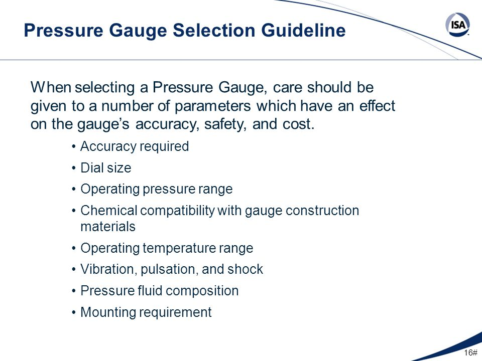 Pressure Gauge Selection Guideline