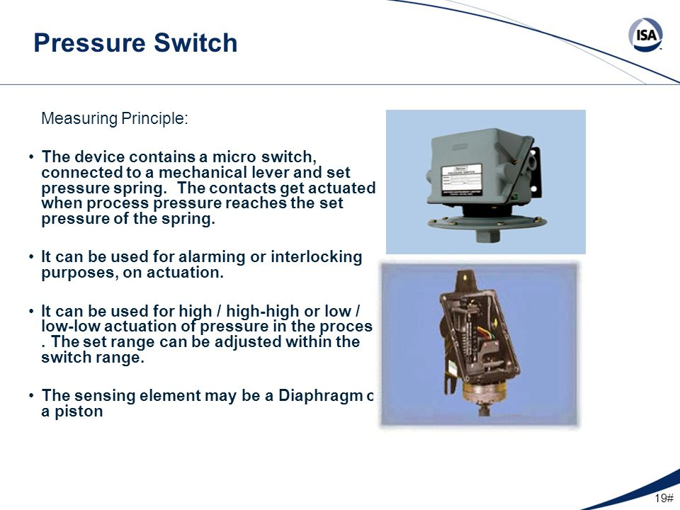 Pressure Switch Measuring Principle: