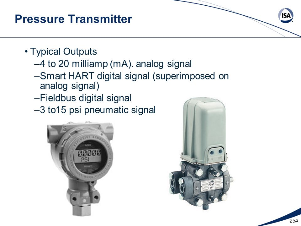 Pressure Transmitter Typical Outputs