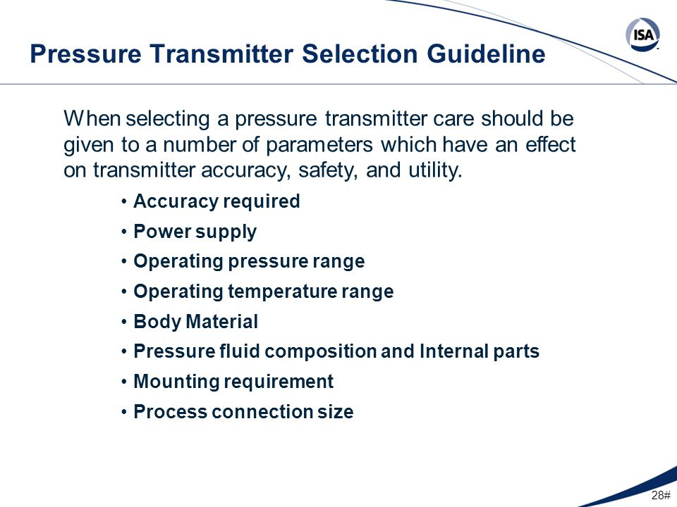 Pressure Transmitter Selection Guideline