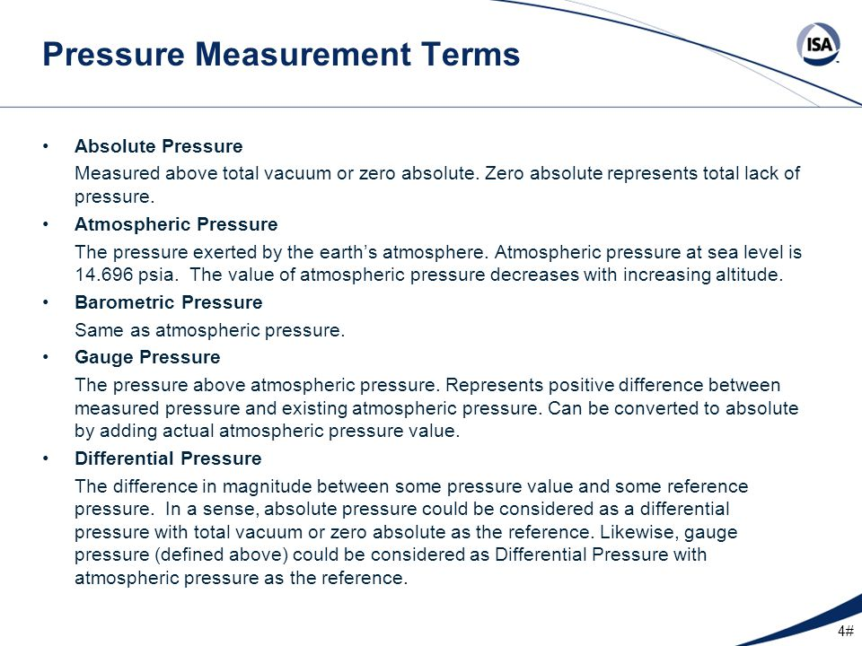 Pressure Measurement Terms