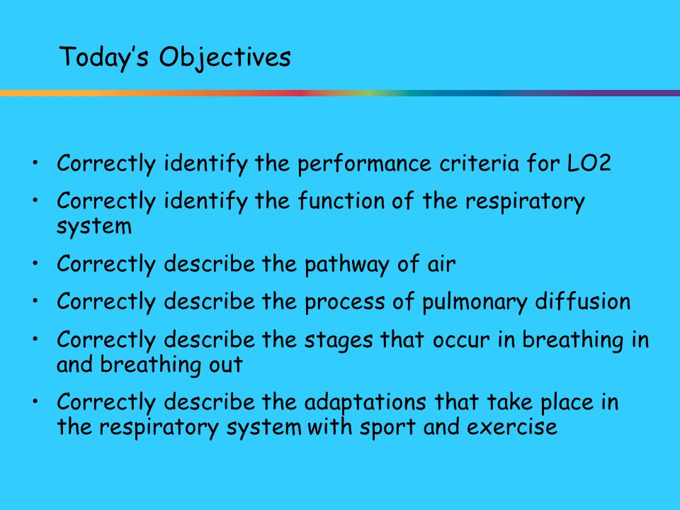 Today's Objectives Correctly identify the performance criteria for LO2
