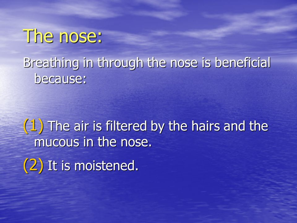 The nose: Breathing in through the nose is beneficial because: