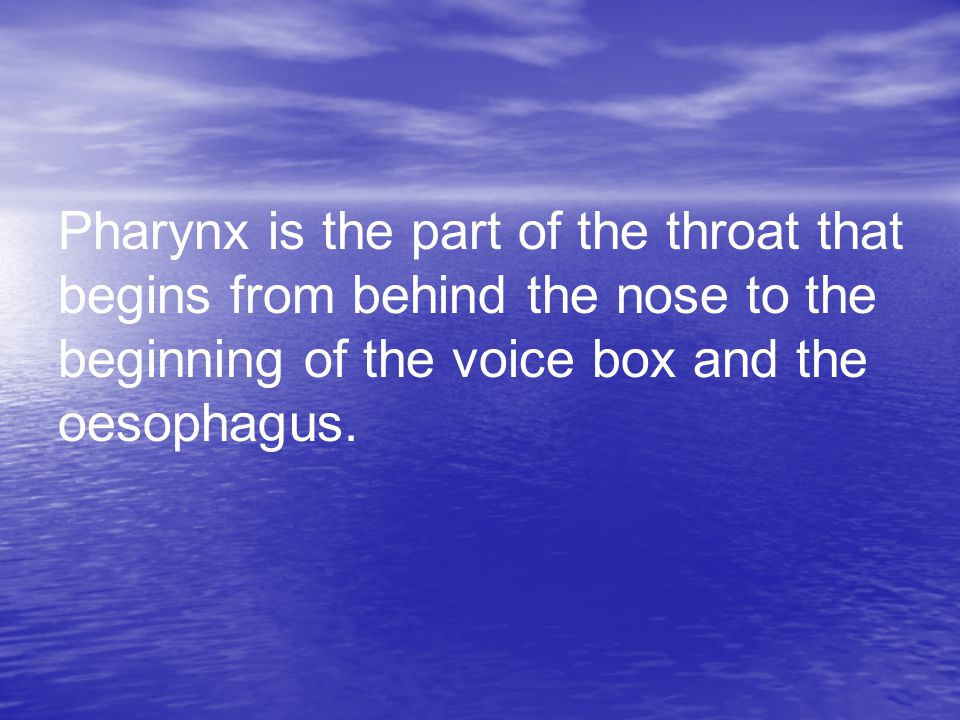 Pharynx is the part of the throat that begins from behind the nose to the beginning of the voice box and the oesophagus.