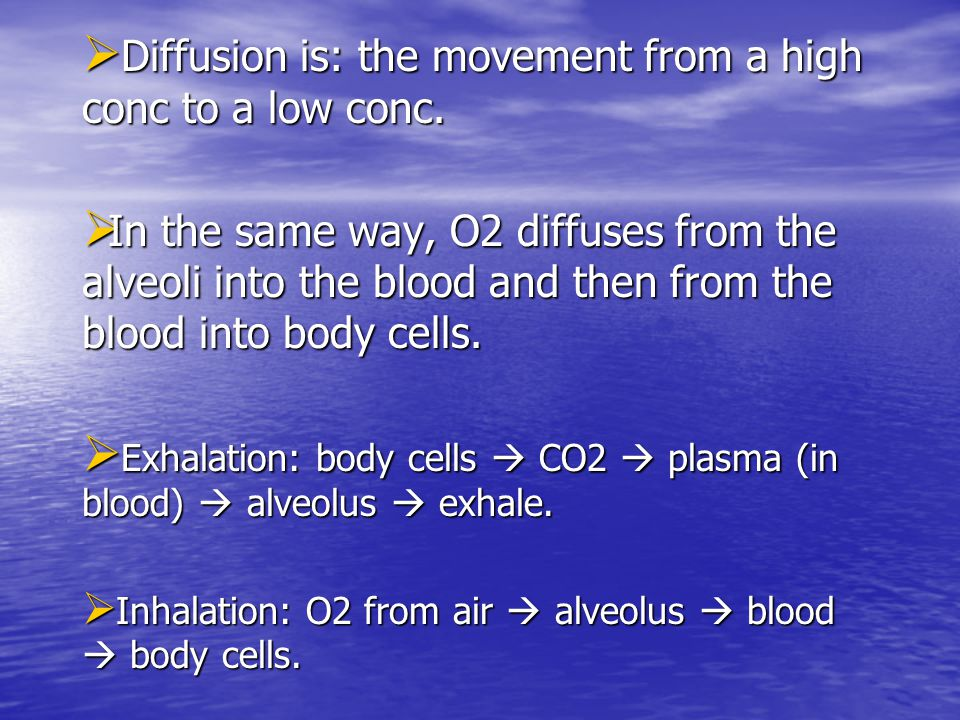 Diffusion is: the movement from a high conc to a low conc.