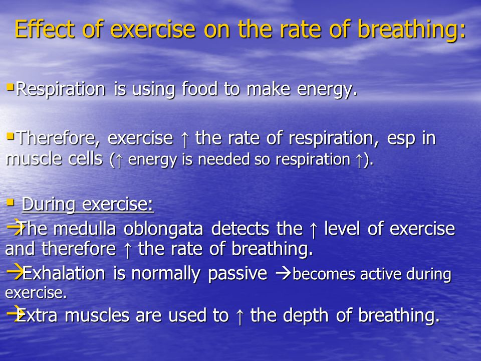 Effect of exercise on the rate of breathing: