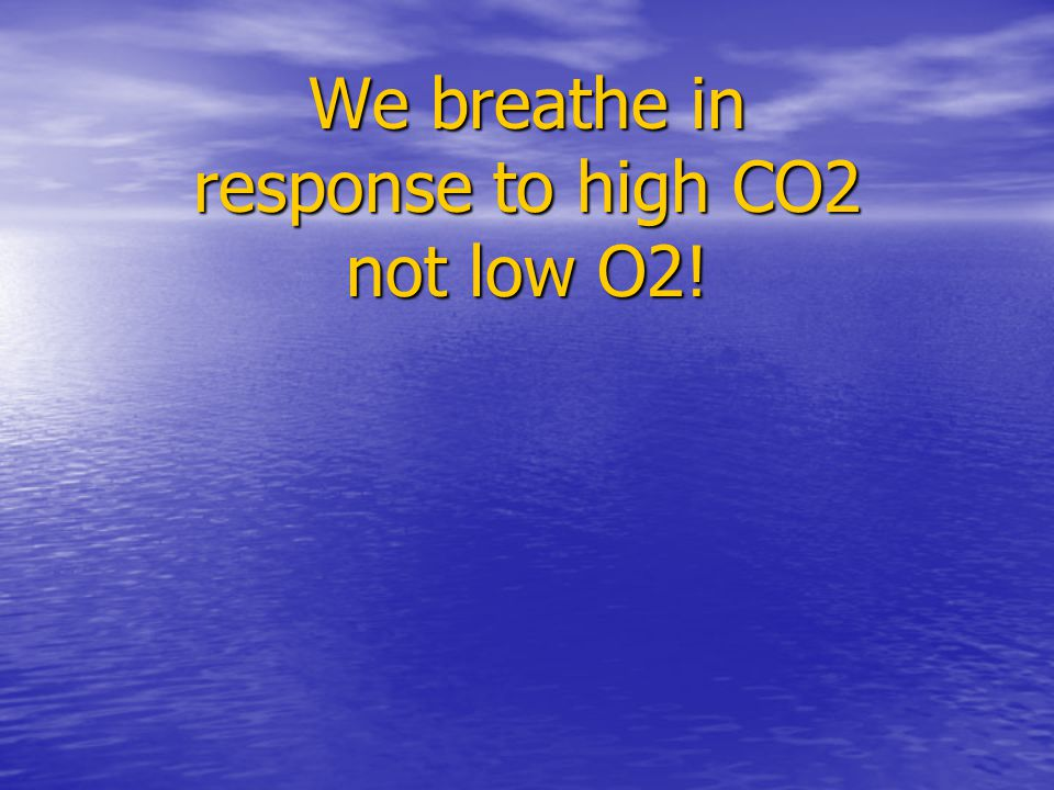 We breathe in response to high CO2 not low O2!