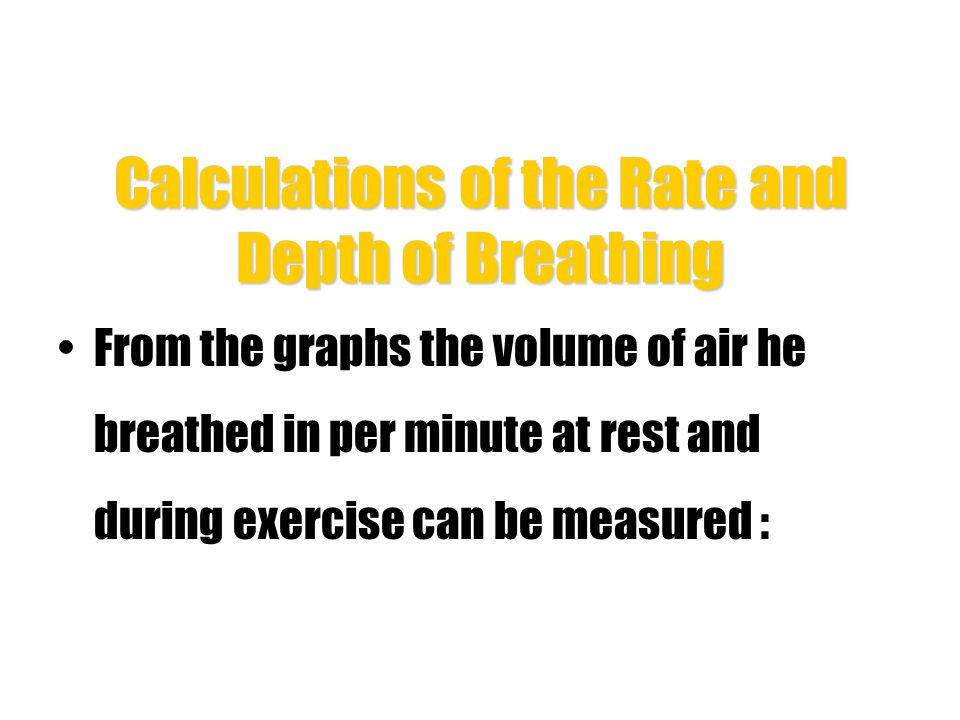 Calculations of the Rate and Depth of Breathing