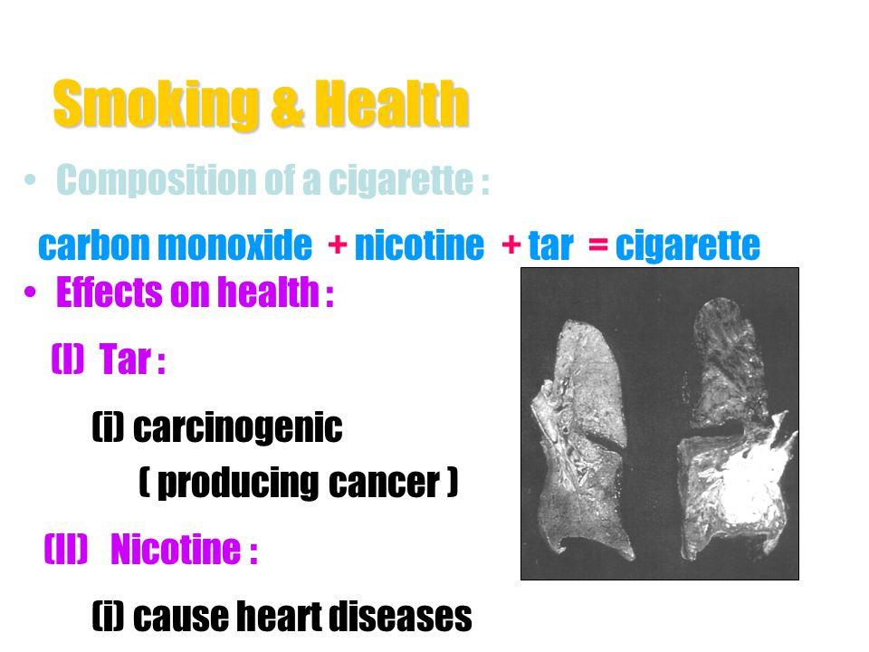 Smoking & Health Composition of a cigarette : carbon monoxide