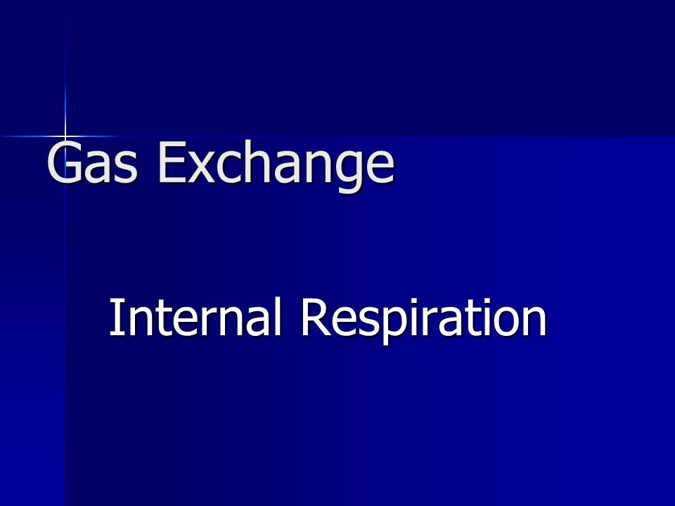 Gas Exchange Internal Respiration