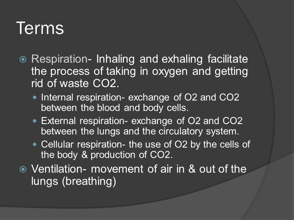 Terms Respiration- Inhaling and exhaling facilitate the process of taking in oxygen and getting rid of waste CO2.