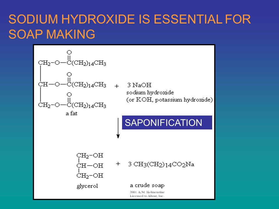 SODIUM HYDROXIDE IS ESSENTIAL FOR SOAP MAKING