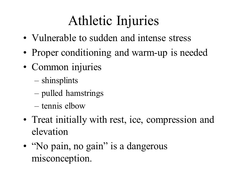 Athletic Injuries Vulnerable to sudden and intense stress