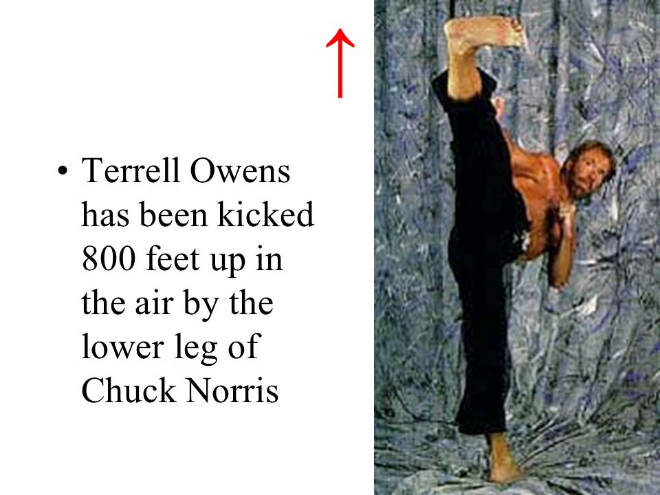 ↑ Terrell Owens has been kicked 800 feet up in the air by the lower leg of Chuck Norris