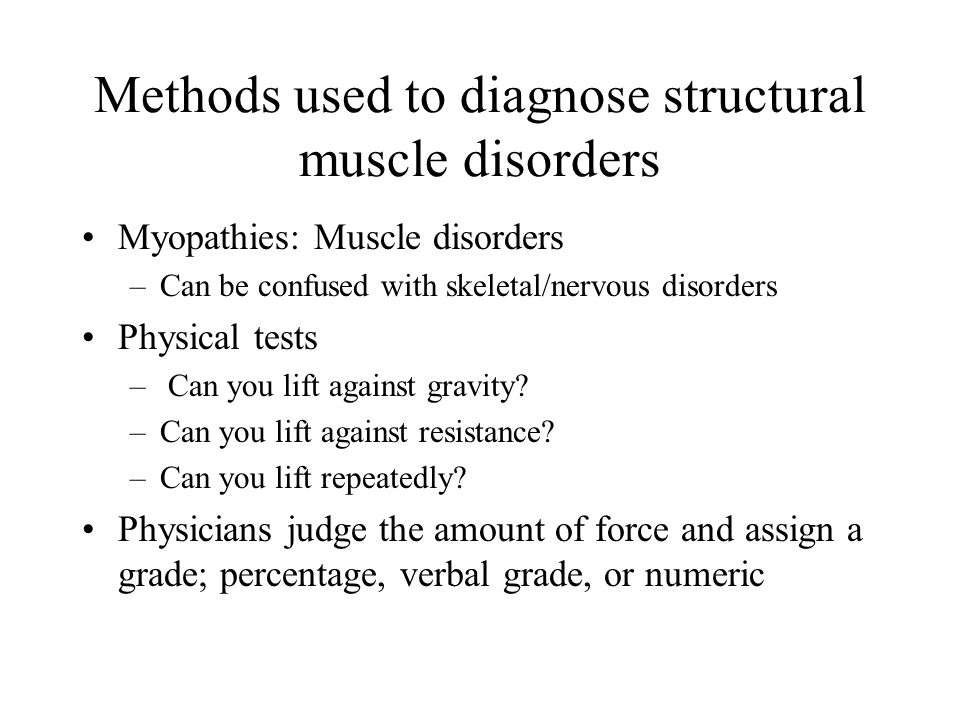 Methods used to diagnose structural muscle disorders