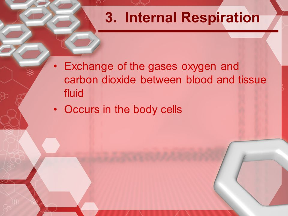 3. Internal Respiration Exchange of the gases oxygen and carbon dioxide between blood and tissue fluid.