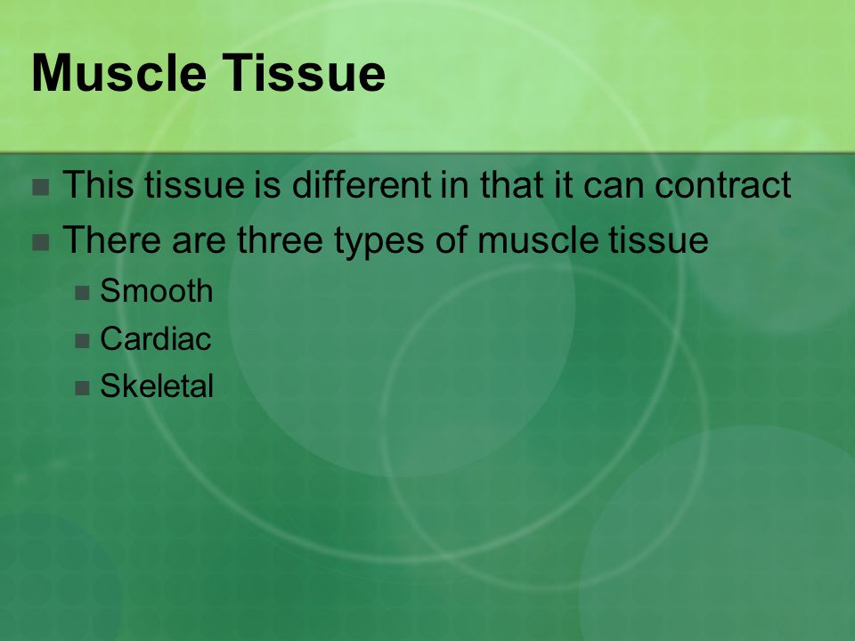 Muscle Tissue This tissue is different in that it can contract