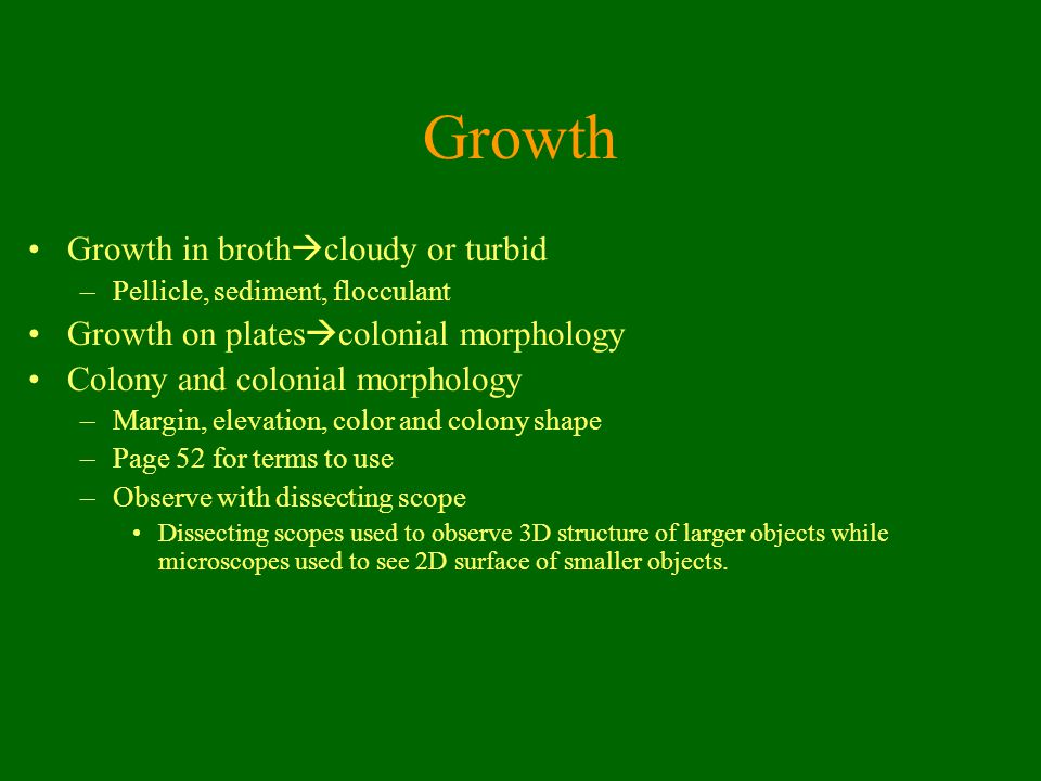 Growth Growth in brothcloudy or turbid