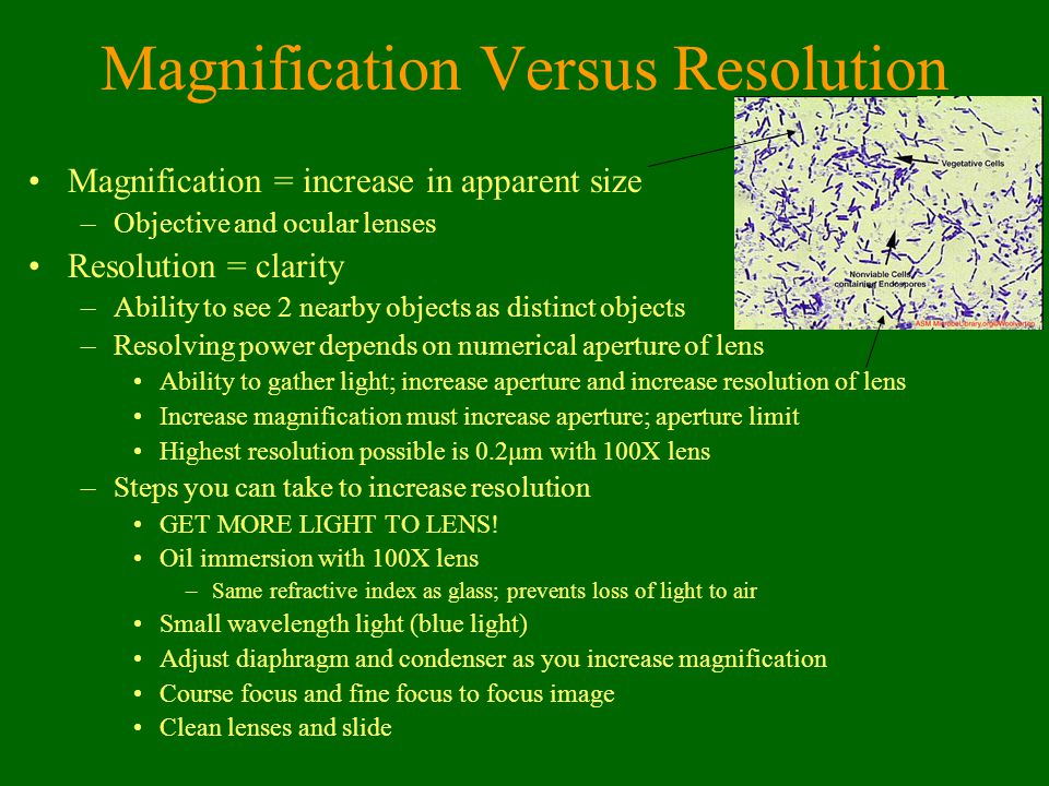 Magnification Versus Resolution