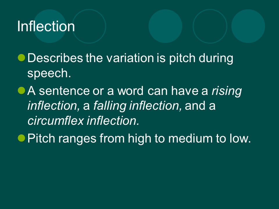 Inflection Describes the variation is pitch during speech.