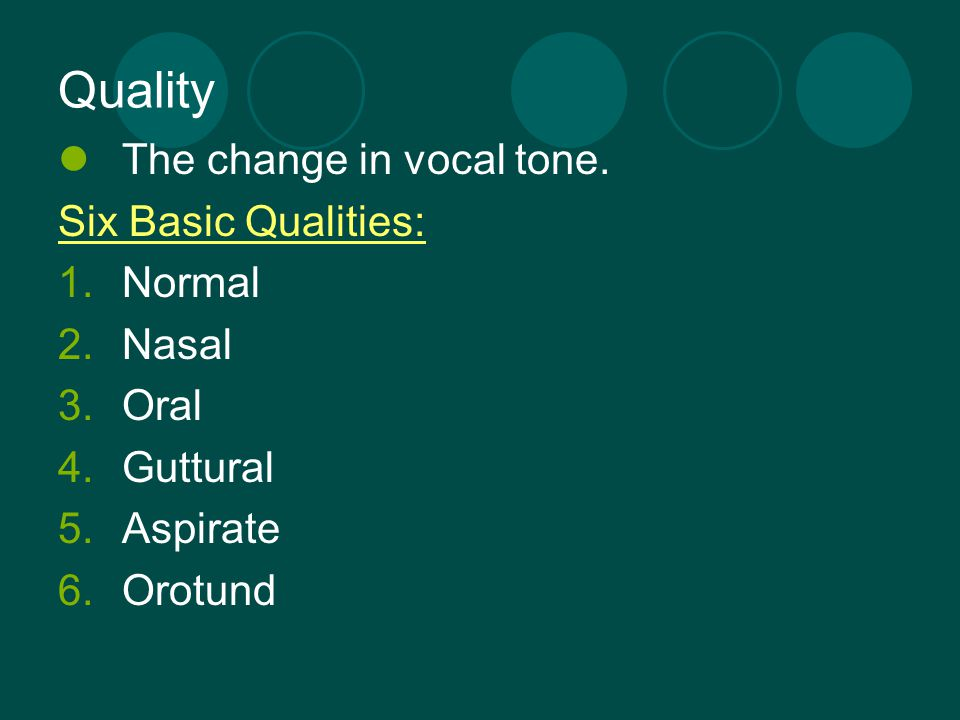 Quality The change in vocal tone. Six Basic Qualities: Normal Nasal