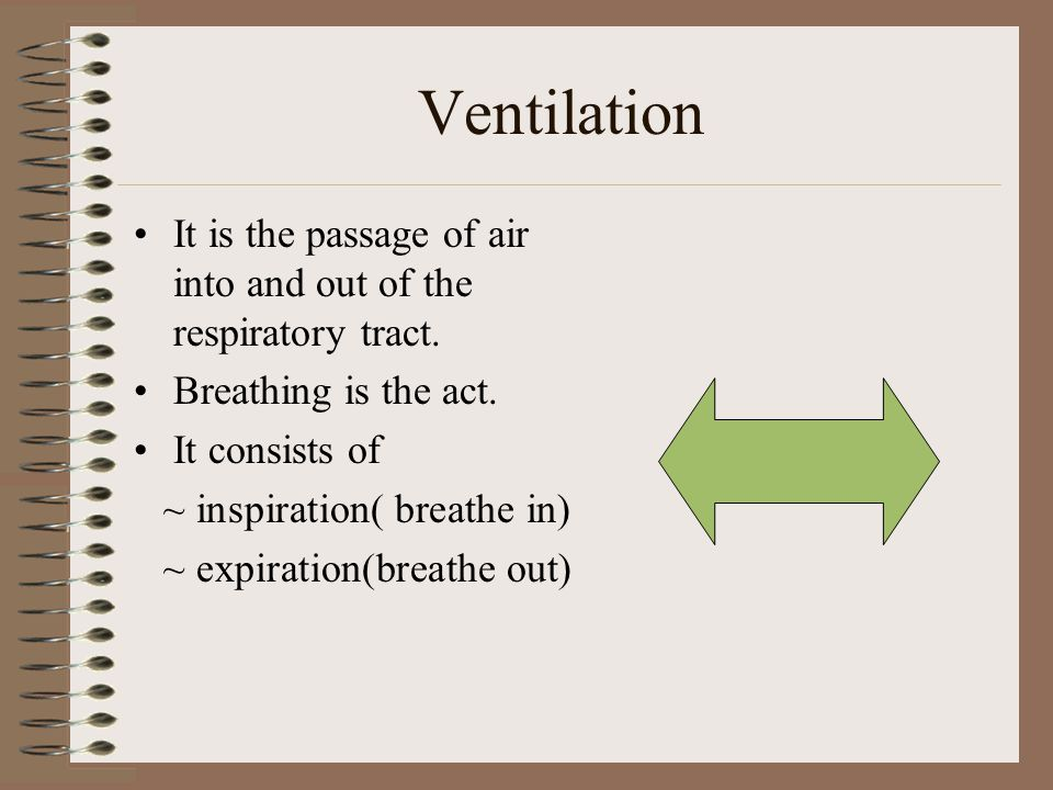 Ventilation It is the passage of air into and out of the respiratory tract. Breathing is the act. It consists of.