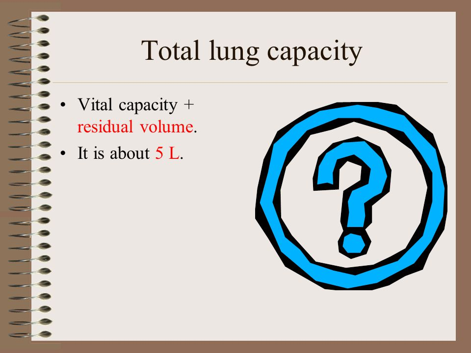 Total lung capacity Vital capacity + residual volume. It is about 5 L.
