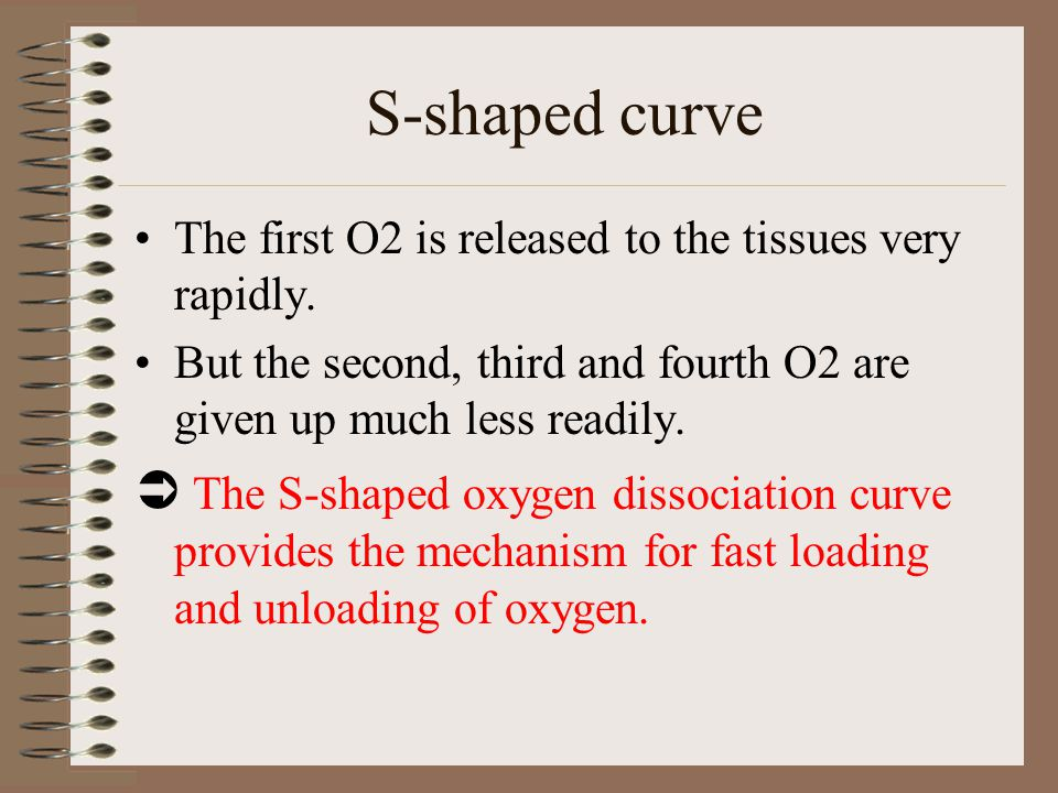 S-shaped curve The first O2 is released to the tissues very rapidly. But the second, third and fourth O2 are given up much less readily.