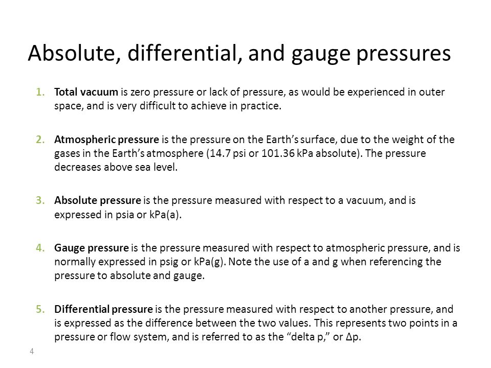 Absolute, differential, and gauge pressures