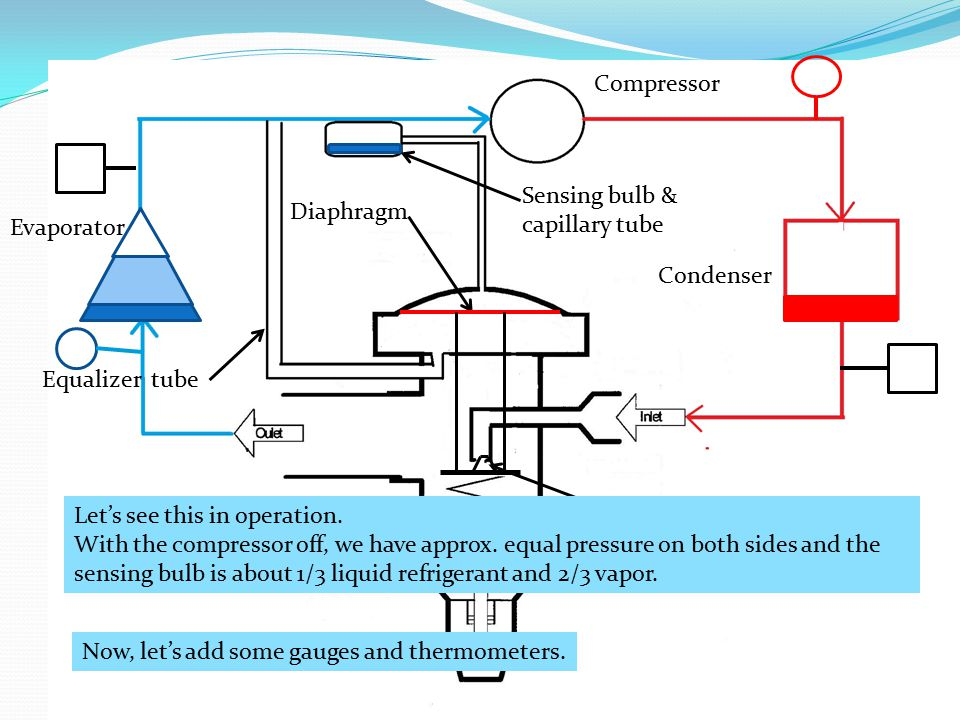 Compressor Sensing bulb & capillary tube. Diaphragm. Evaporator. Condenser. Equalizer tube. Let's see this in operation.