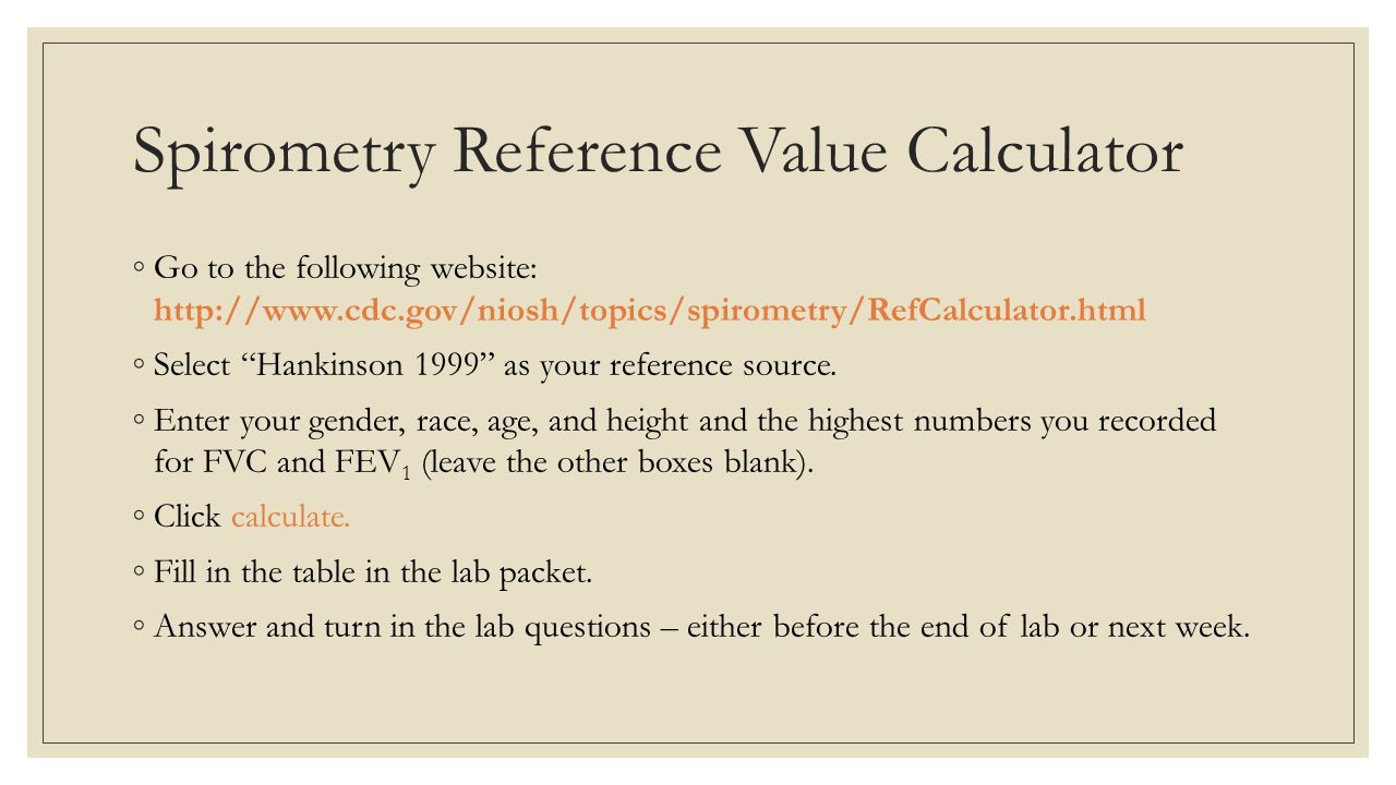Spirometry Reference Value Calculator