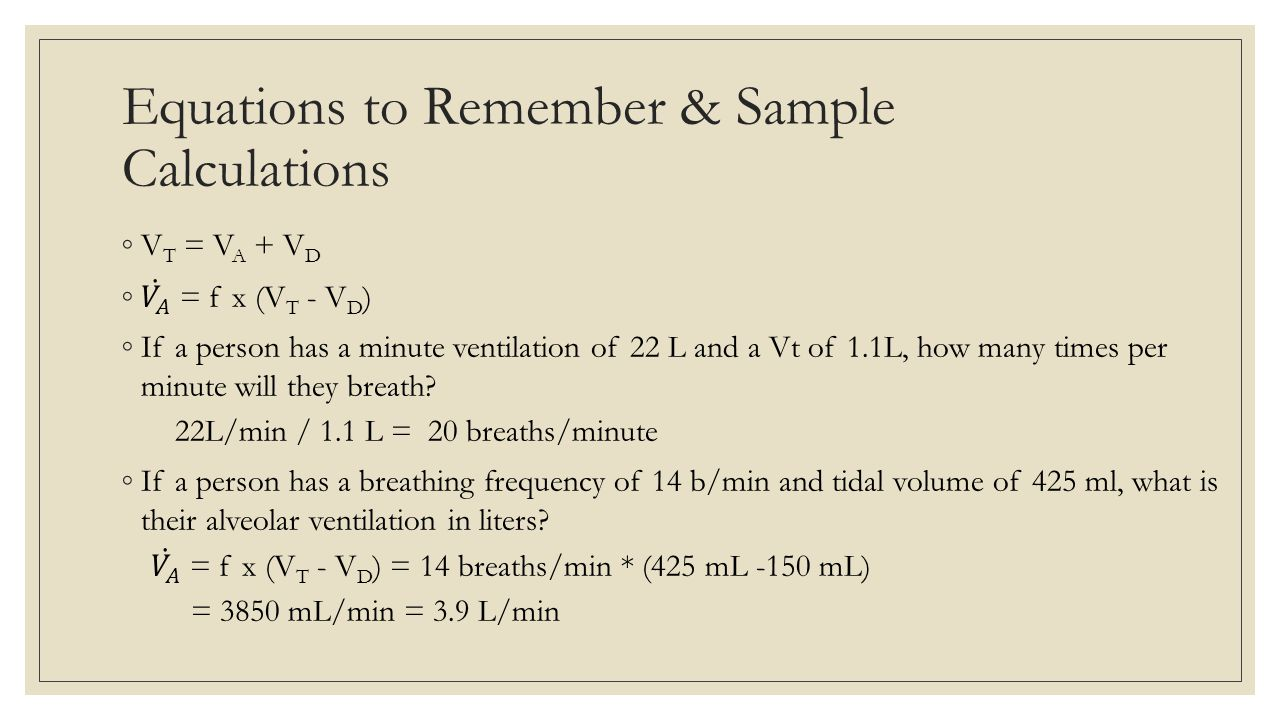 Equations to Remember & Sample Calculations