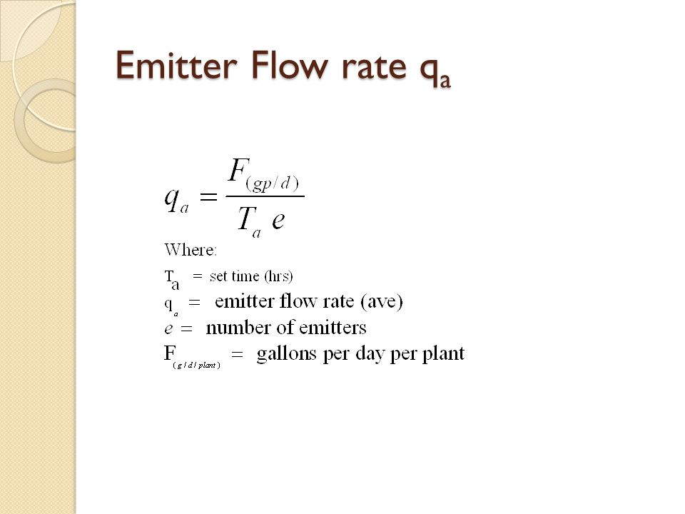 Emitter Flow rate qa