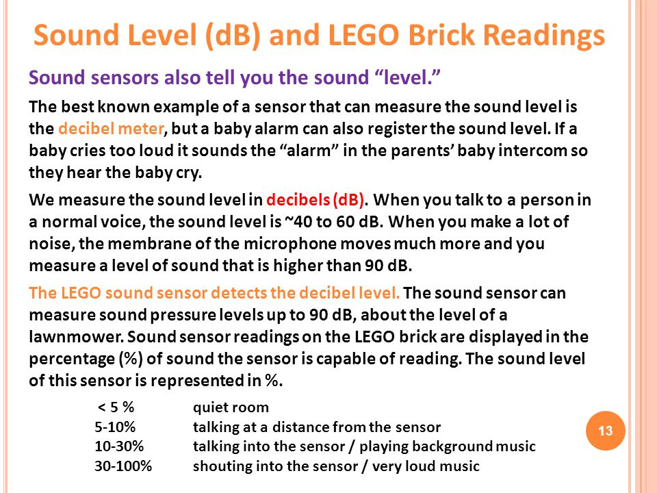 Sound Level (dB) and LEGO Brick Readings